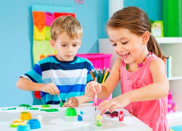 Cheerful Preschoolers Painting